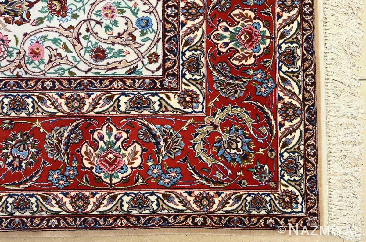 ivory bakground vintage isfahan persian rug 51161 corner Nazmiyal