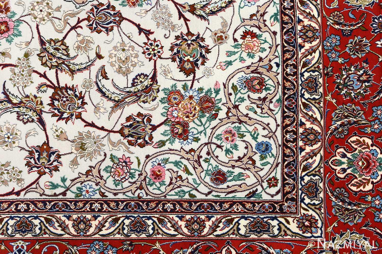 ivory bakground vintage isfahan persian rug 51161 design Nazmiyal