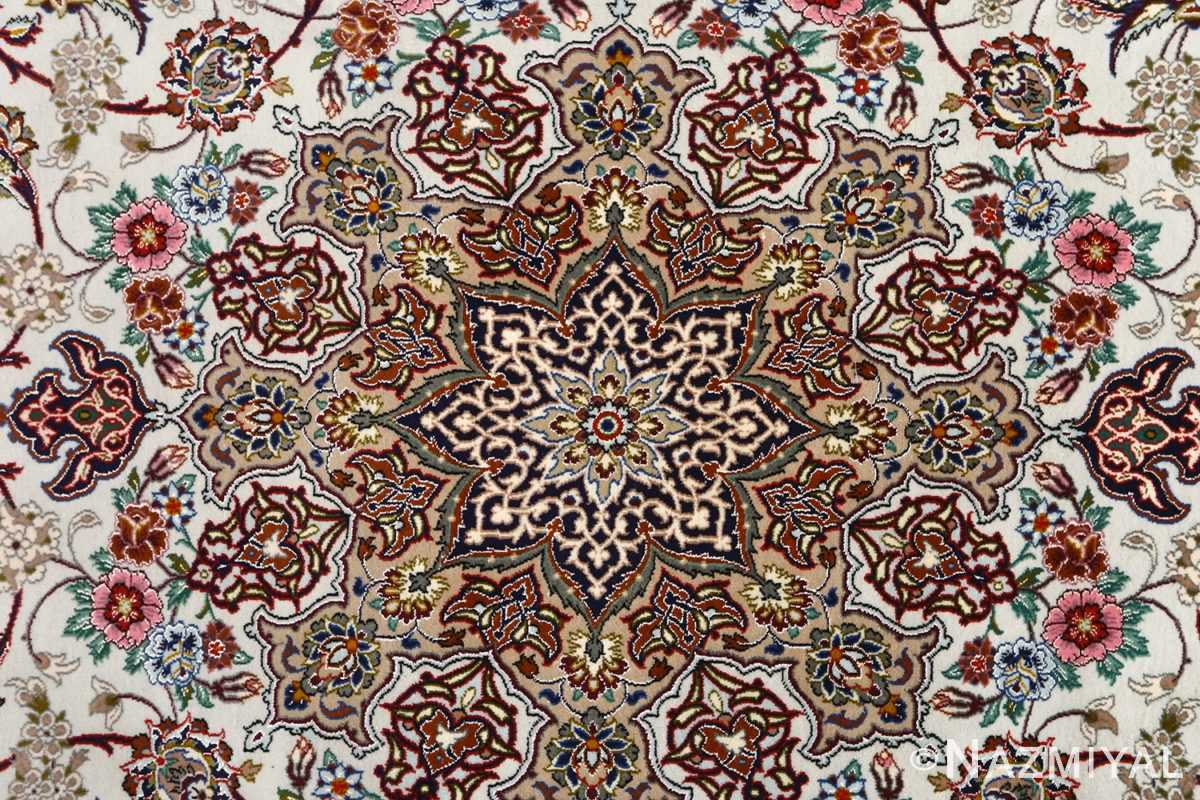 ivory background vintage isfahan persian rug 51161 medallion Nazmiyal