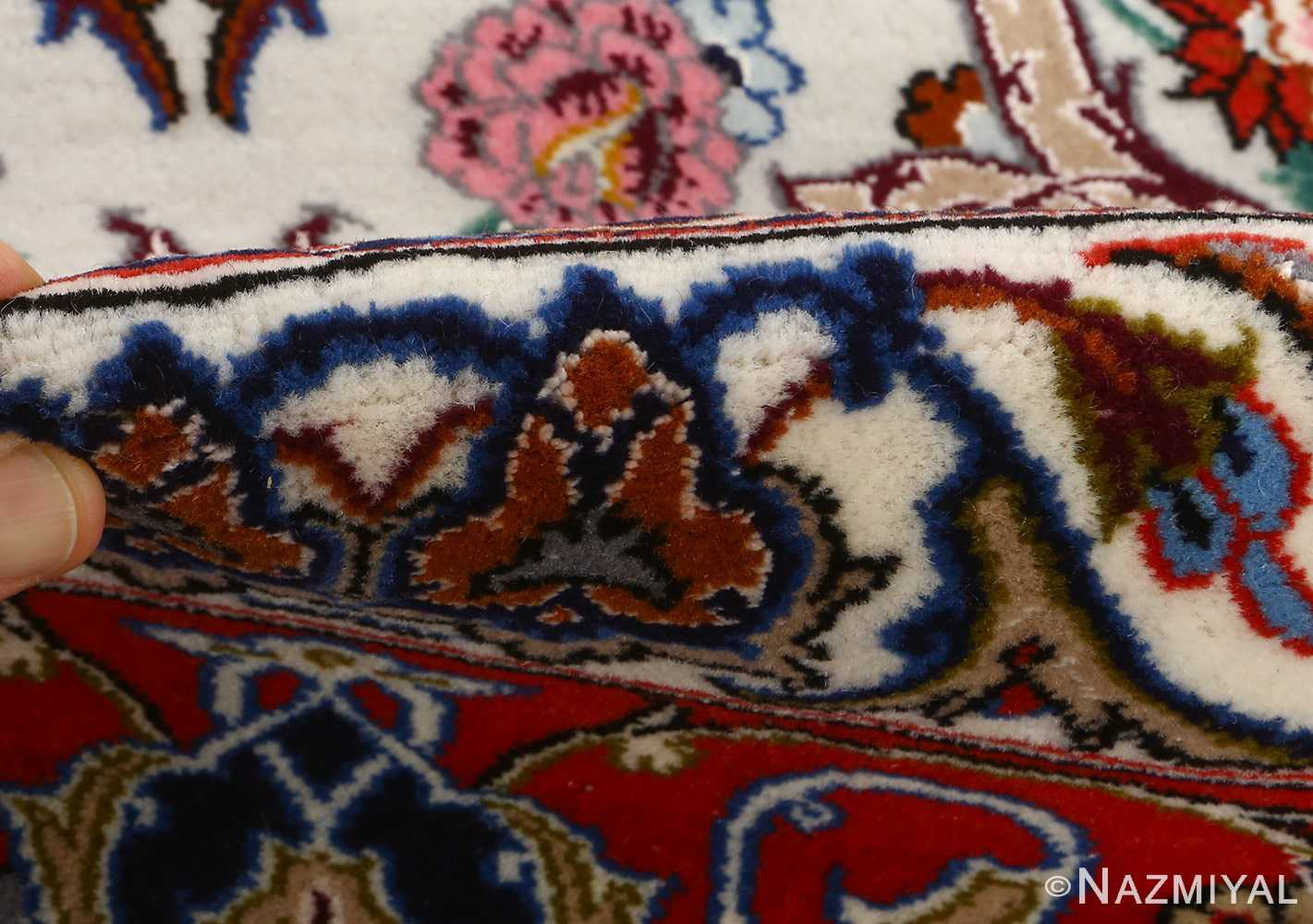 ivory background vintage isfahan persian rug 51161 pile Nazmiyal