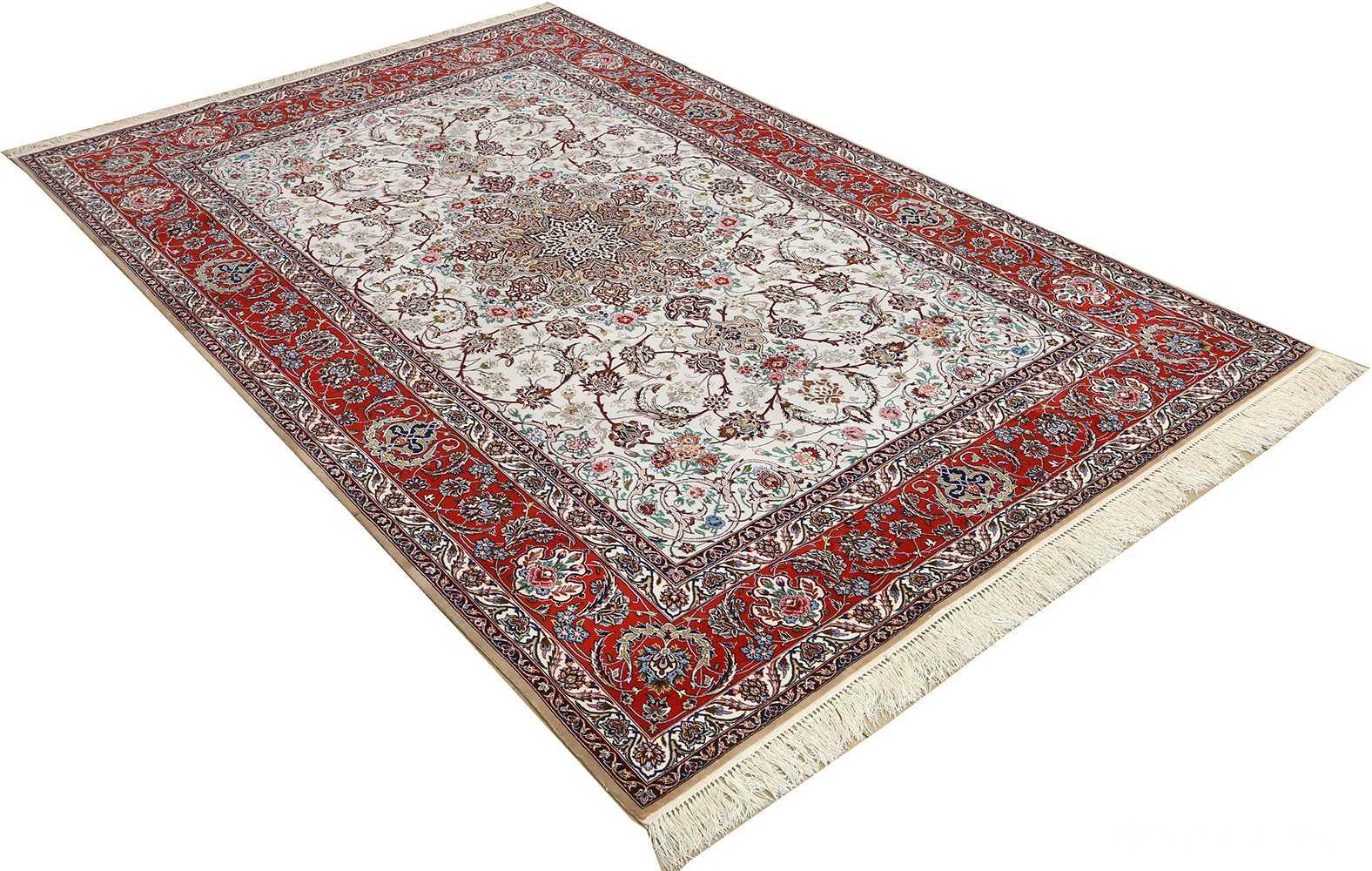 ivory background vintage isfahan persian rug 51161 side Nazmiyal