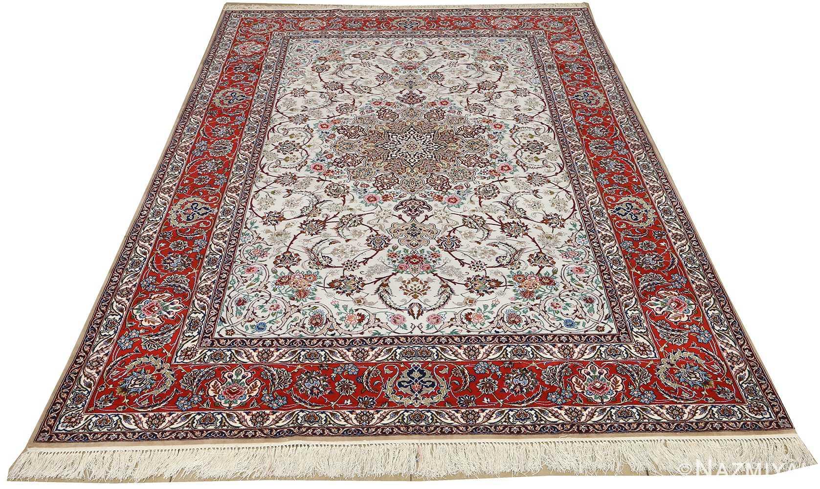 ivory background vintage isfahan persian rug 51161 whole Nazmiyal