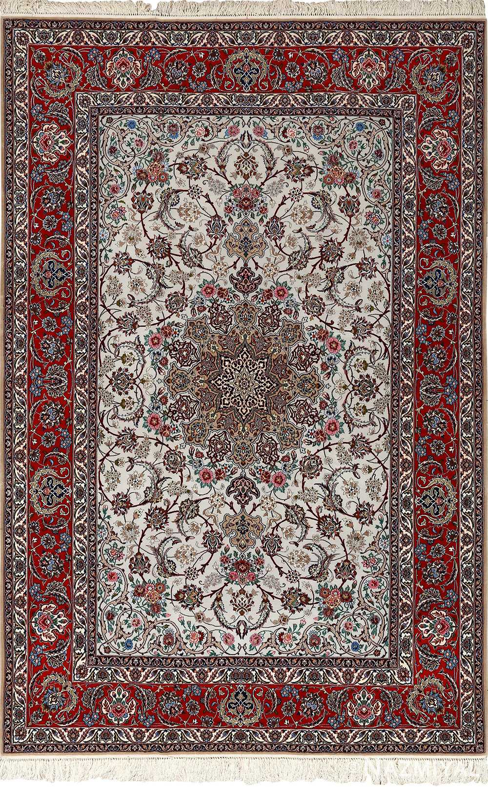ivory bakground vintage isfahan persian rug 51161 Nazmiyal
