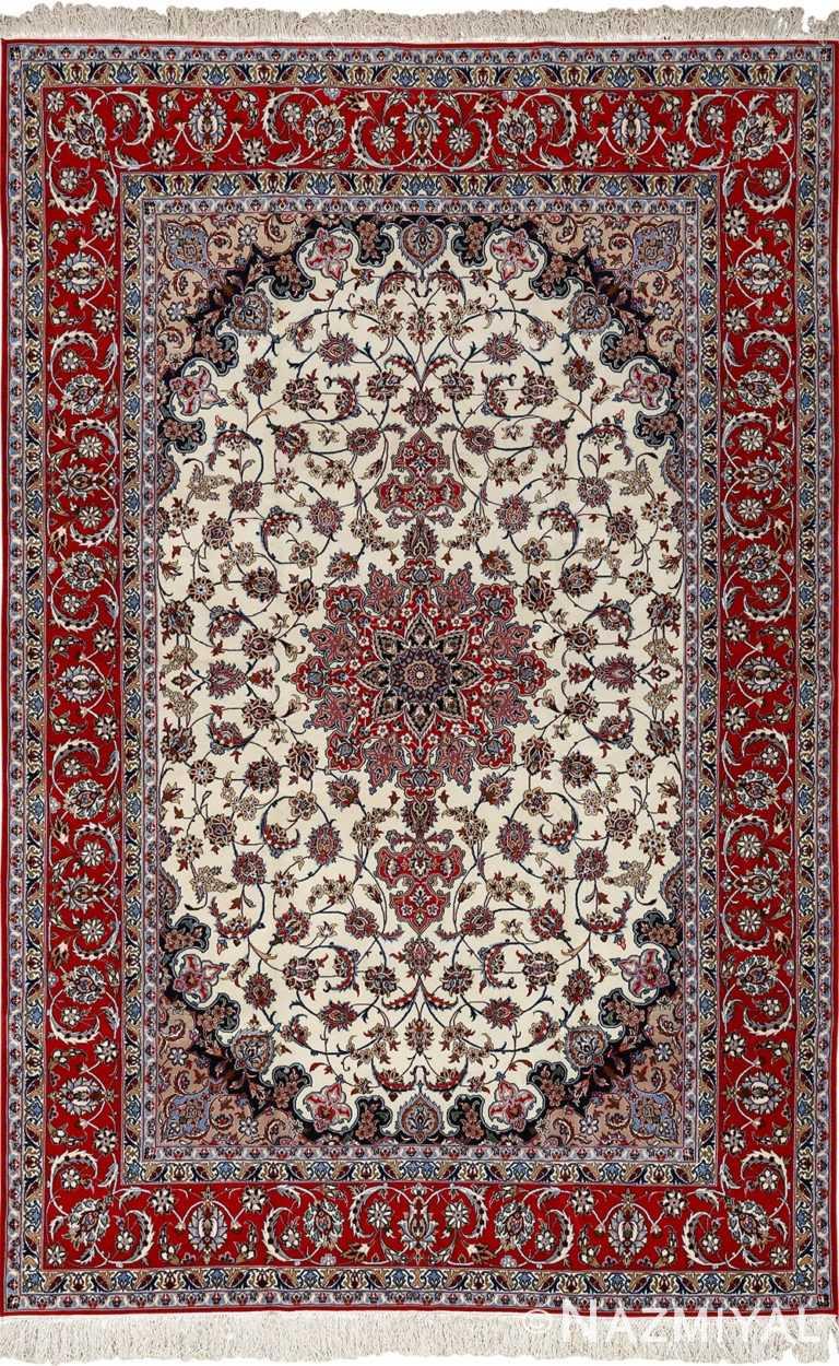 ivory floral vintage isfahan persian rug 51150 Nazmiyal