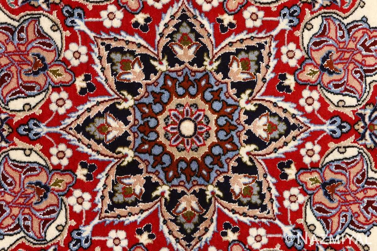 ivory floral vintage isfahan persian rug 51150 center Nazmiyal