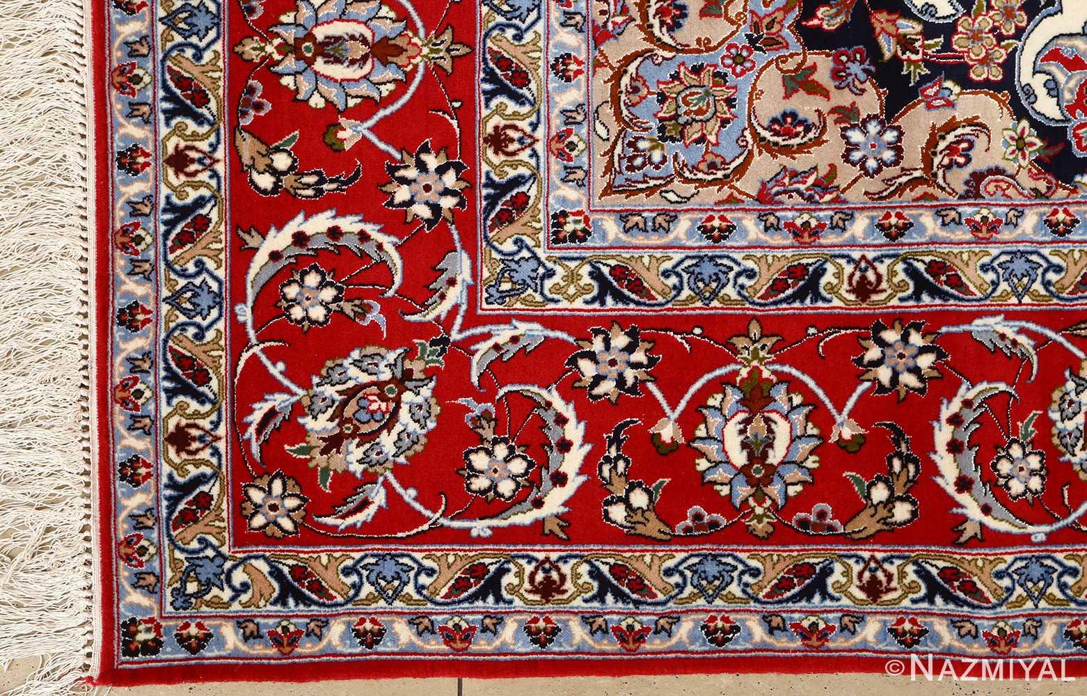 ivory floral vintage isfahan persian rug 51150 corner Nazmiyal