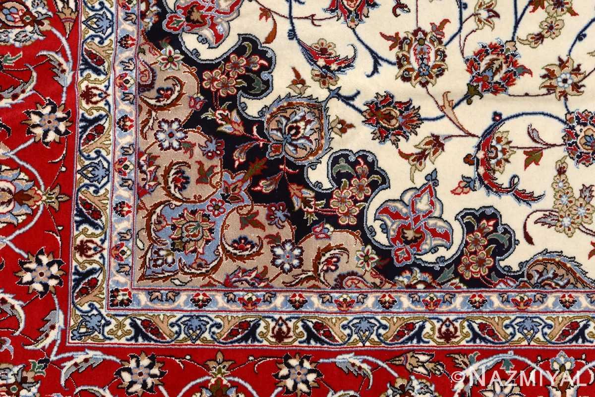 ivory floral vintage isfahan persian rug 51150 design Nazmiyal