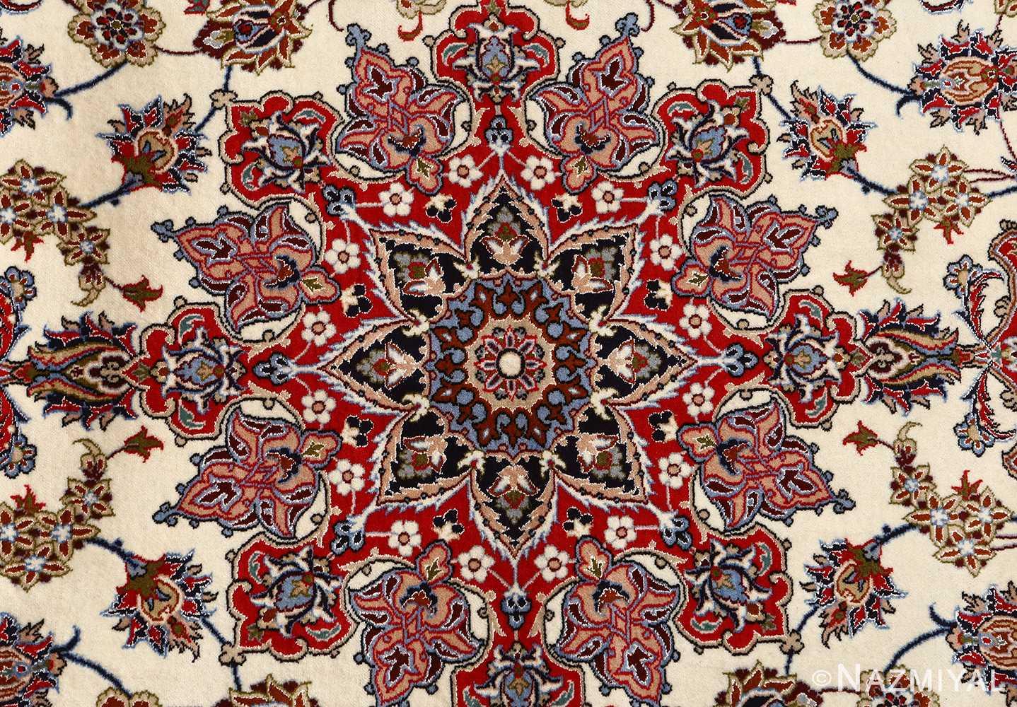 ivory floral vintage isfahan persian rug 51150 medallion Nazmiyal