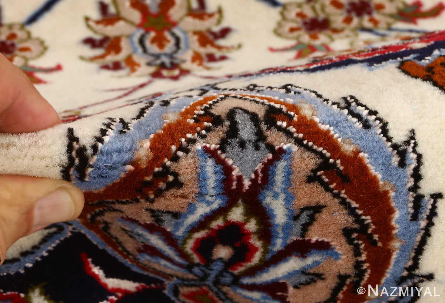 ivory floral vintage isfahan persian rug 51150 pile Nazmiyal
