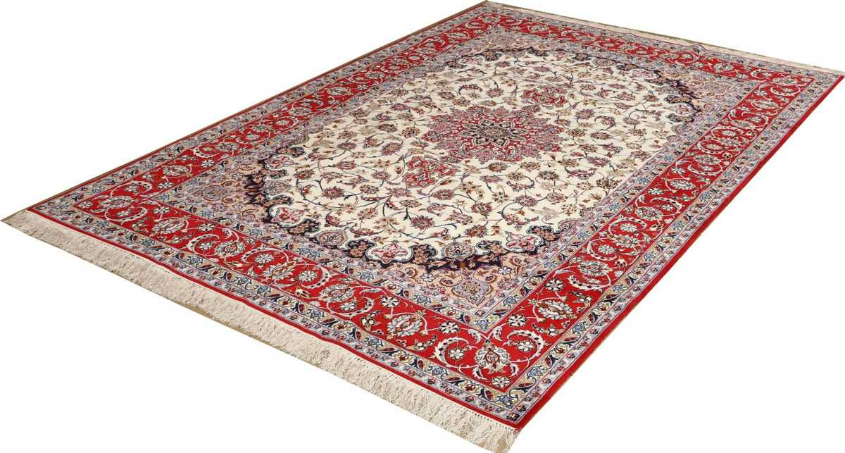 ivory floral vintage isfahan persian rug 51150 side Nazmiyal