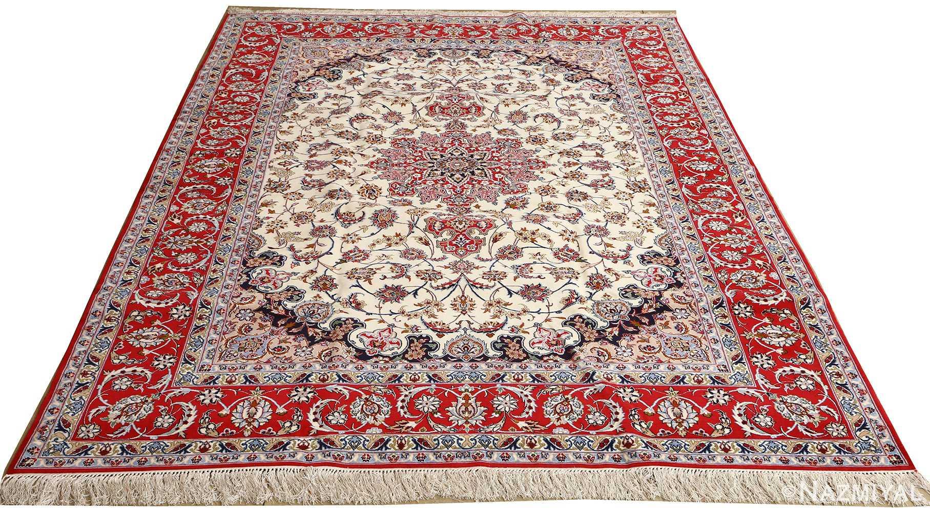 ivory floral vintage isfahan persian rug 51150 whole Nazmiyal