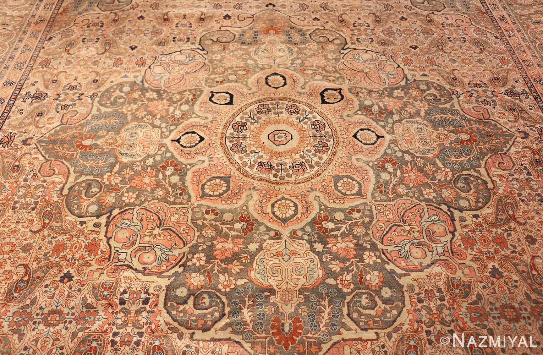 ivory haji jalili tabriz persian rug 49346 medallion Nazmiyal