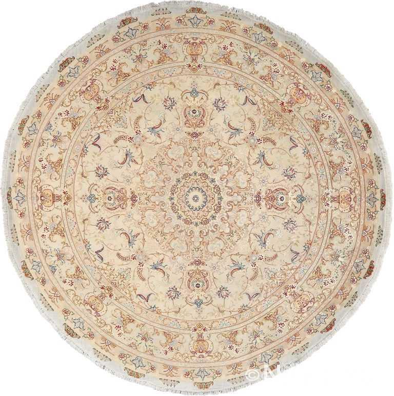 ivory round vintage tabriz persian rug 51138 Nazmiyal