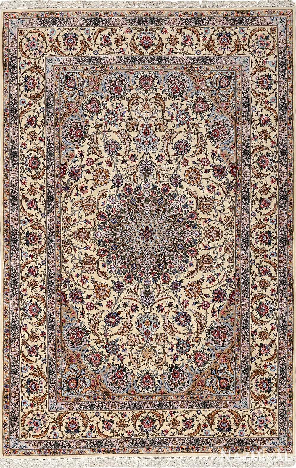ivory vintage isfahan persian rug 51155 Nazmiyal