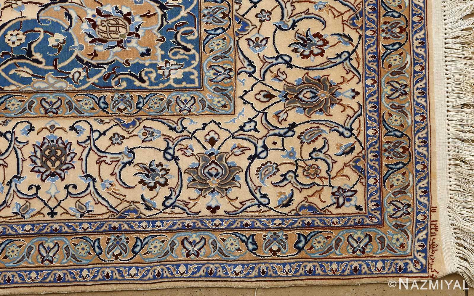 ivory vintage nain persian rug 51144 corner Nazmiyal