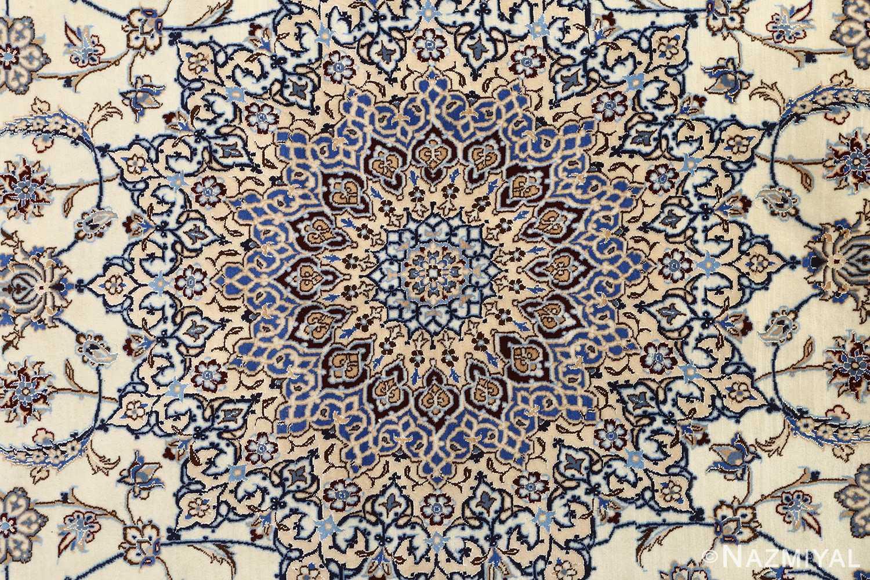 ivory vintage nain persian rug 51144 medallion Nazmiyal
