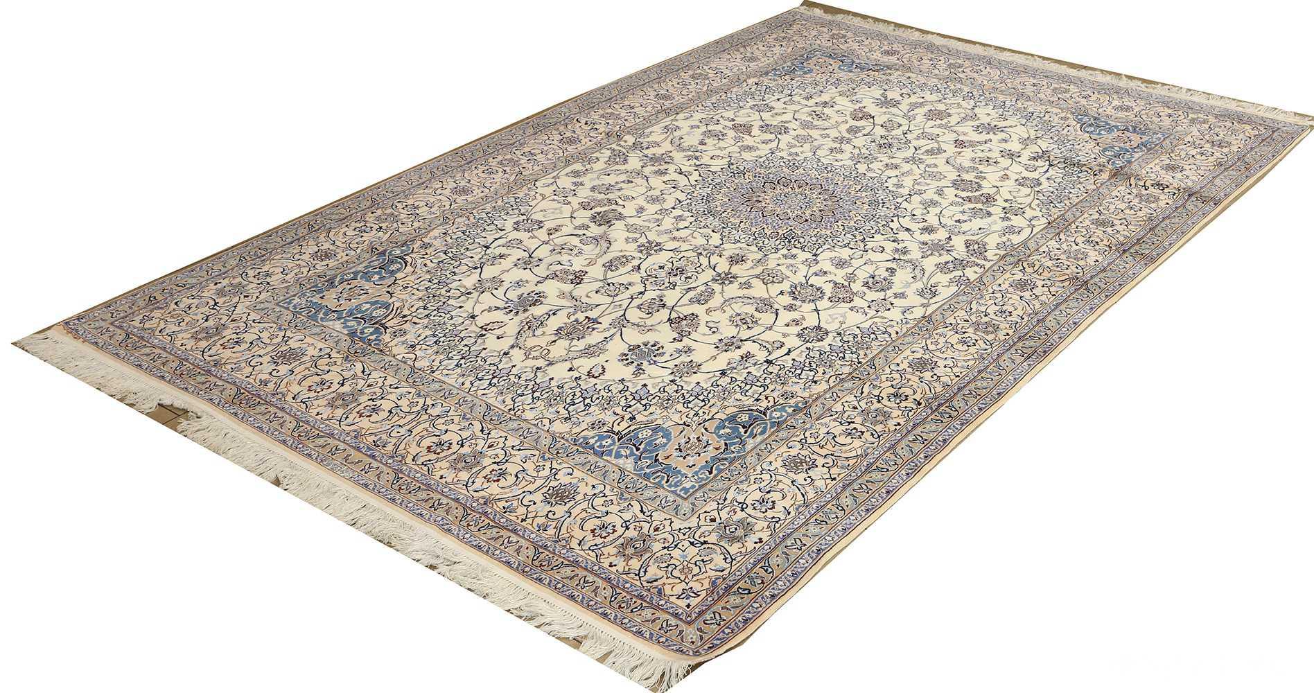 ivory vintage nain persian rug 51144 side Nazmiyal
