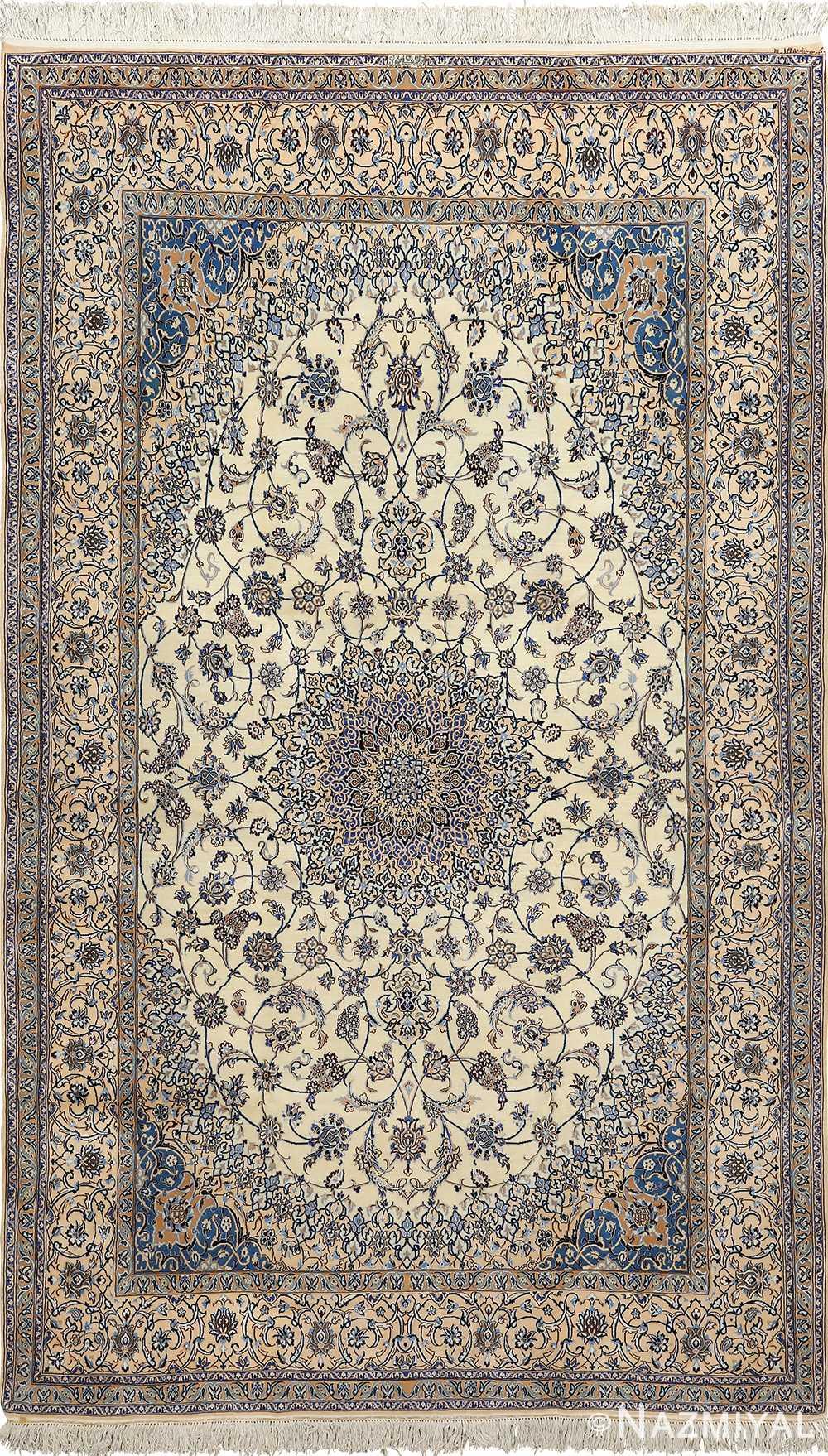 ivory vintage nain persian rug 51144 Nazmiyal