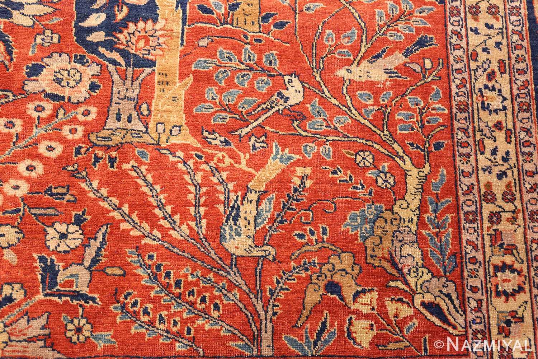 large animal motif antique tabriz persian rug 49271 dove Nazmiyal
