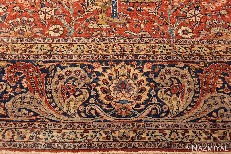 large animal motif antique tabriz persian rug 49271 green Nazmiyal