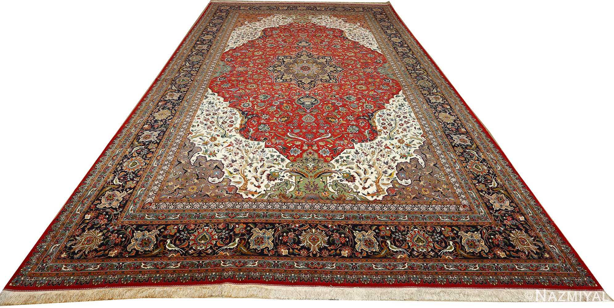 large animal motif vintage tabriz persian rug 51122 full Nazmiyal