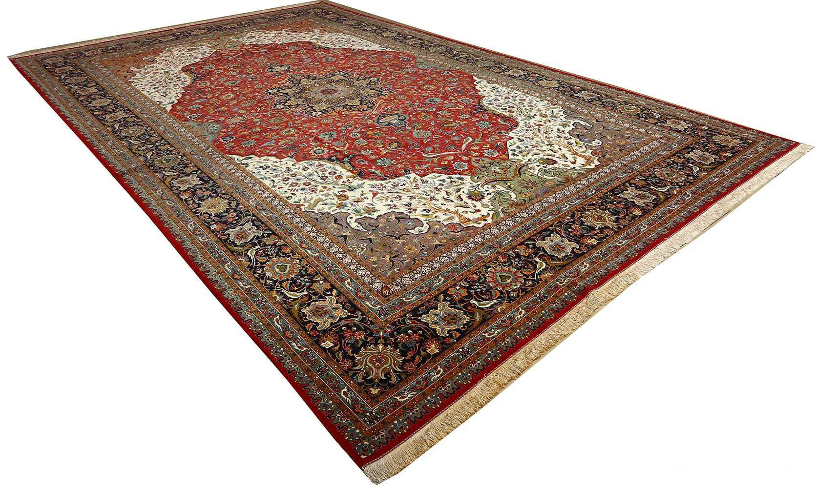 large animal motif vintage tabriz persian rug 51122 side Nazmiyal