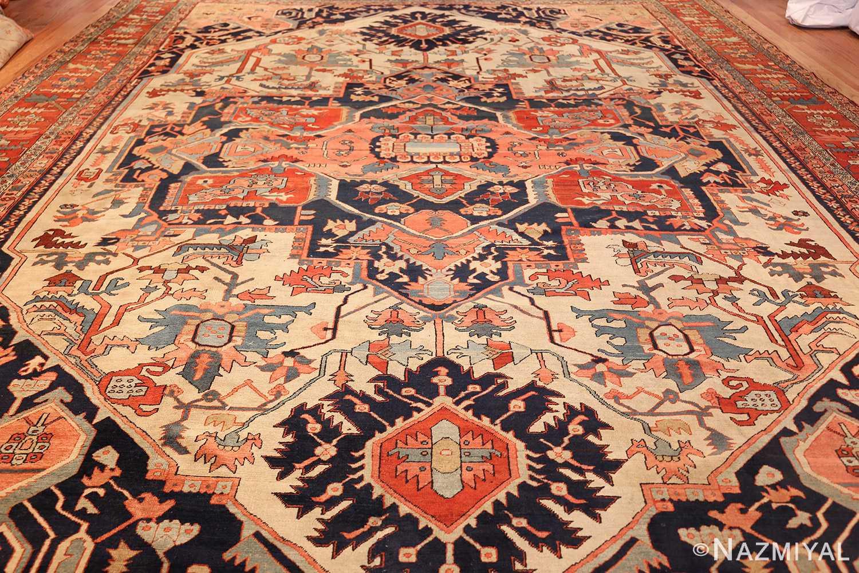 large antique serapi persian rug 49324 field Nazmiyal
