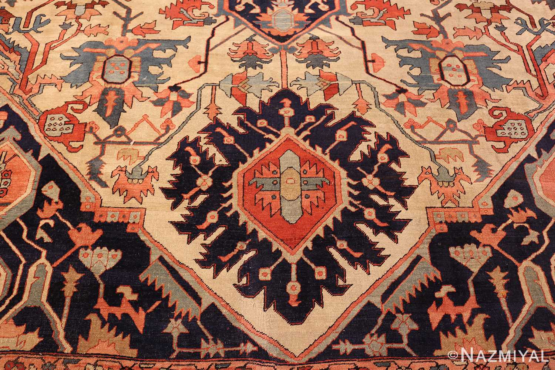 large antique serapi persian rug 49324 navy Nazmiyal