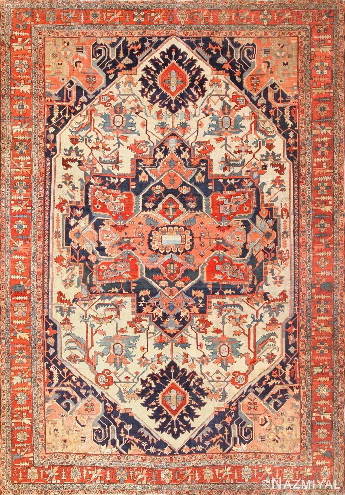 large antique serapi persian rug 49324 Nazmiyal