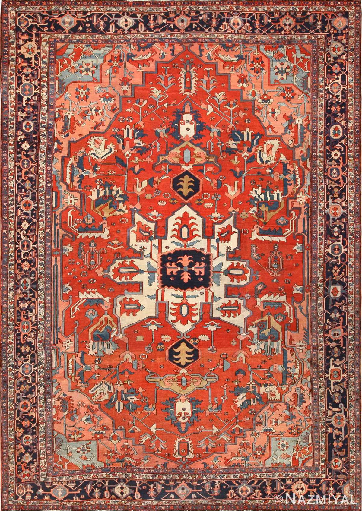 large antique serapi persian rug 49332 Nazmiyal