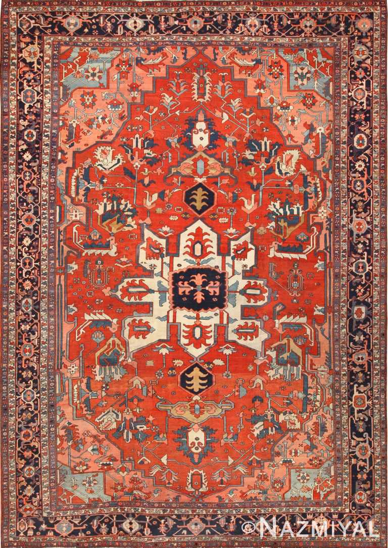 large antique serapi persian rug 49332 Nazmiyal