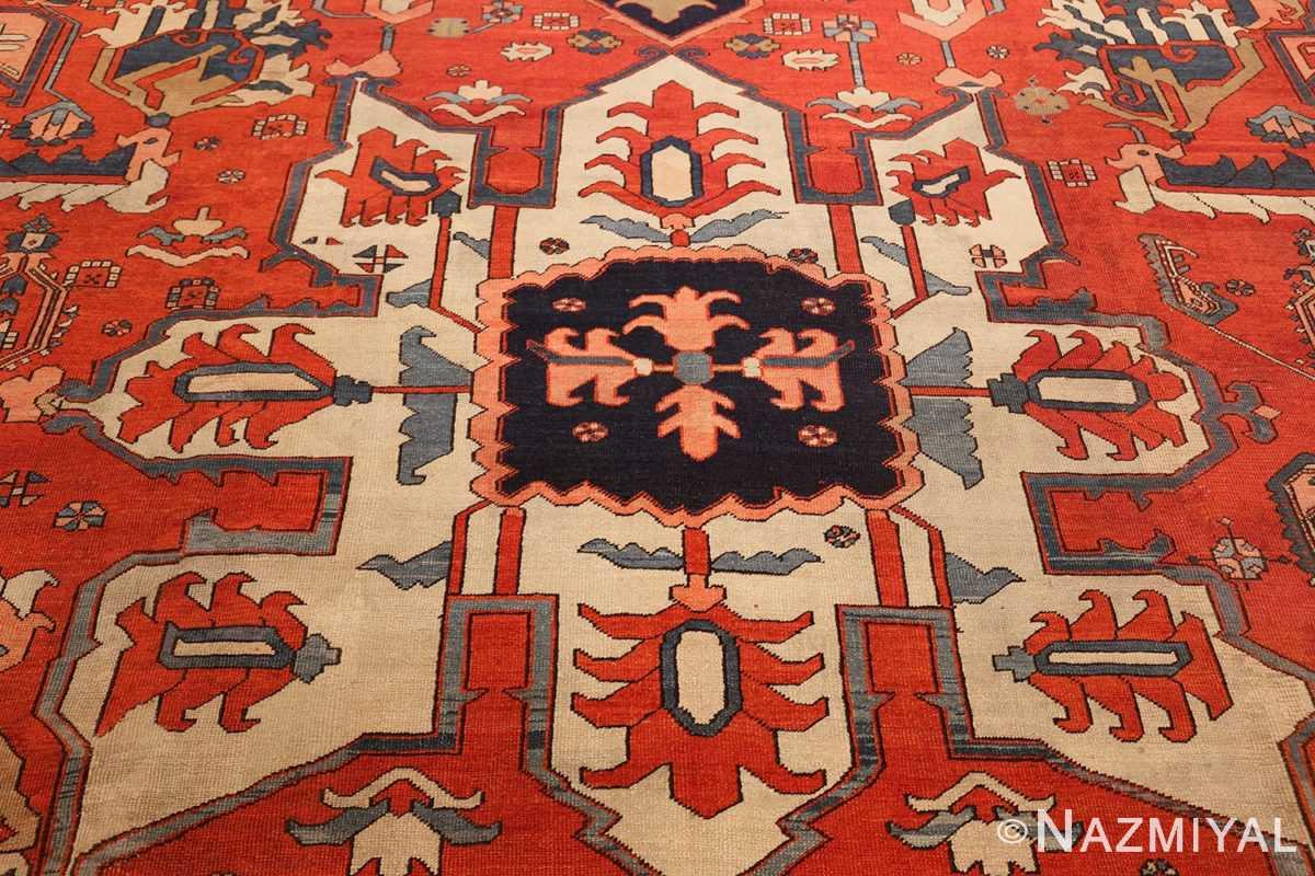 large antique serapi persian rug 49332 medallion Nazmiyal