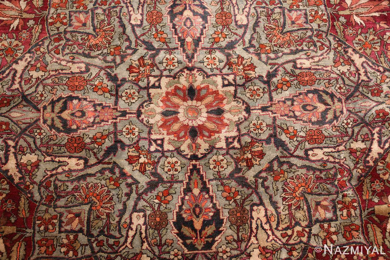 large antique silk mohtasham kashan persian rug 49329 center Nazmiyal