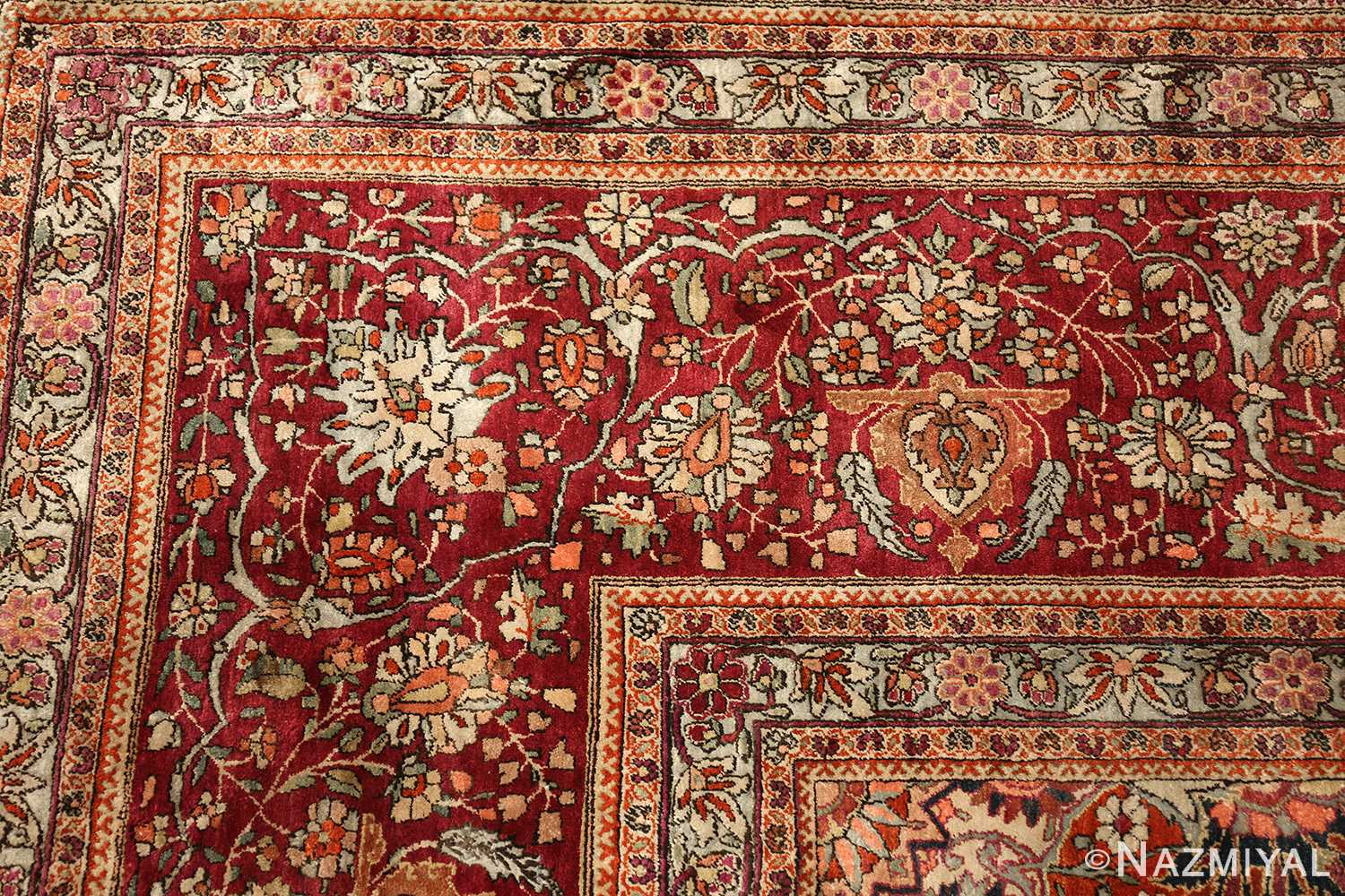 large antique silk mohtasham kashan persian rug 49329 corner Nazmiyal