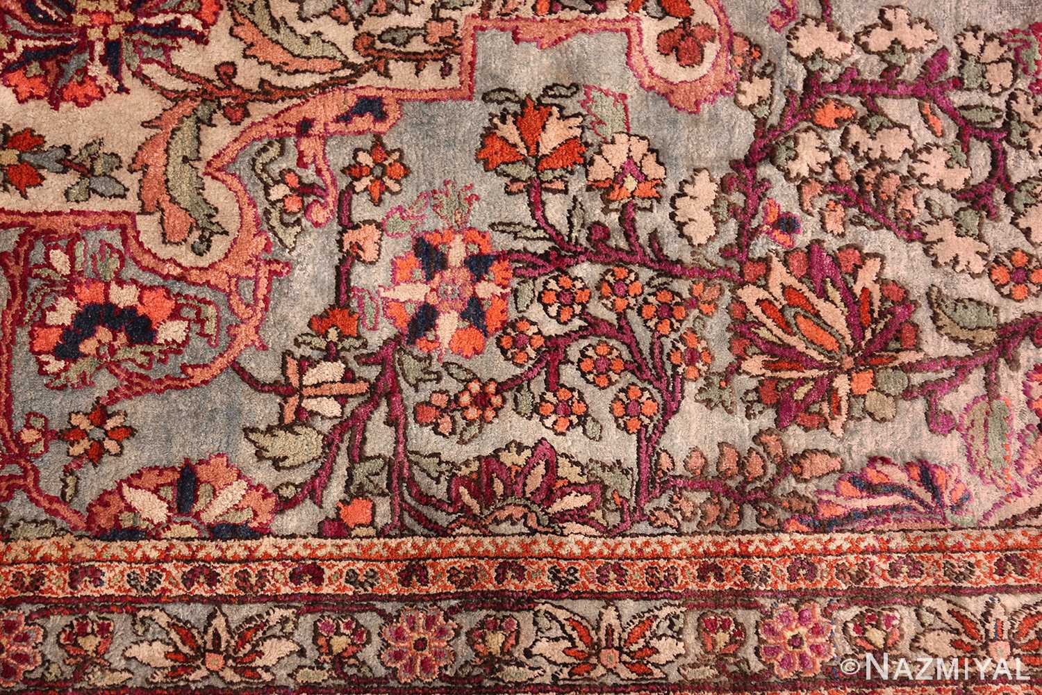 large antique silk mohtasham kashan persian rug 49329 flowers Nazmiyal