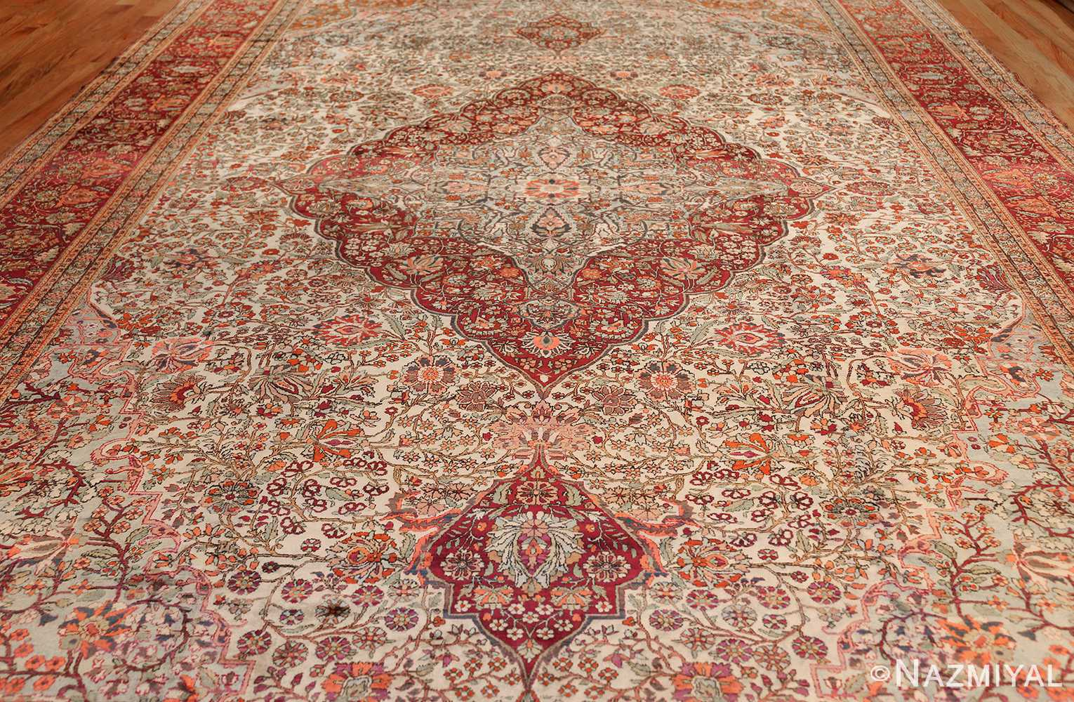 large antique silk mohtasham kashan persian rug 49329 full Nazmiyal
