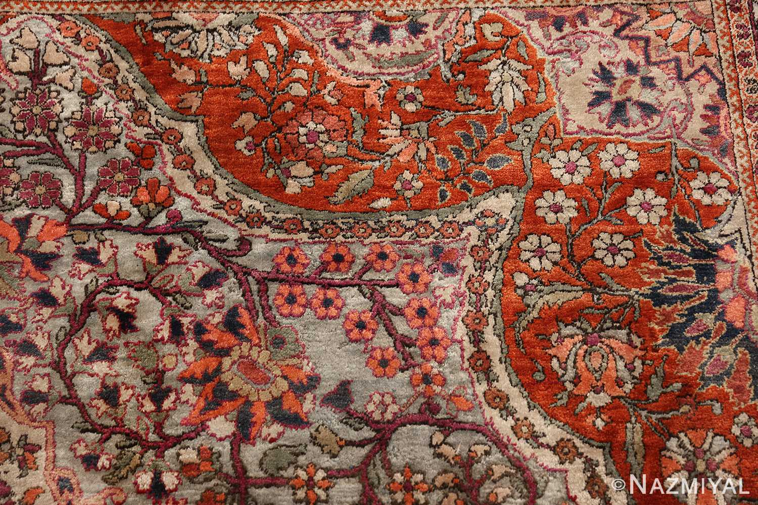 large antique silk mohtasham kashan persian rug 49329 pattern Nazmiyal