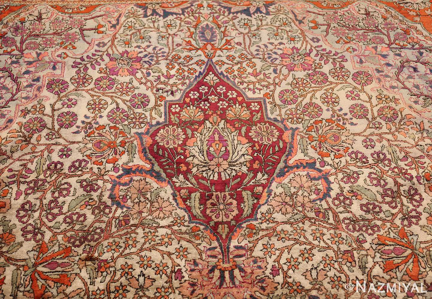 large antique silk mohtasham kashan persian rug 49329 tiara