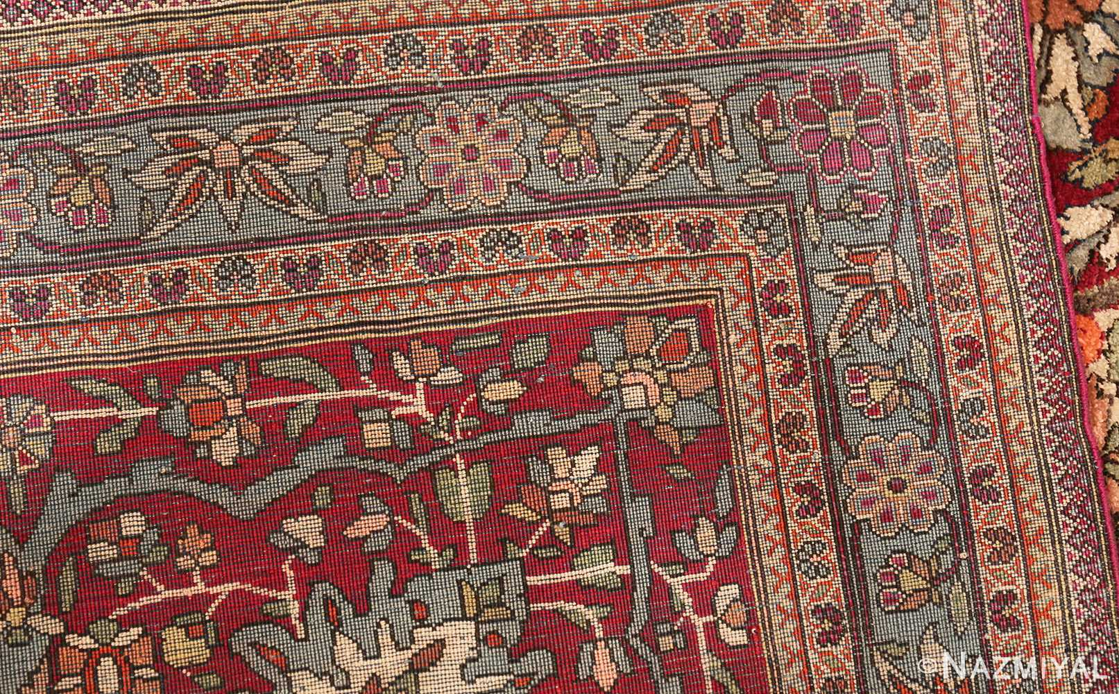 large antique silk mohtasham kashan persian rug 49329 weave Nazmiyal