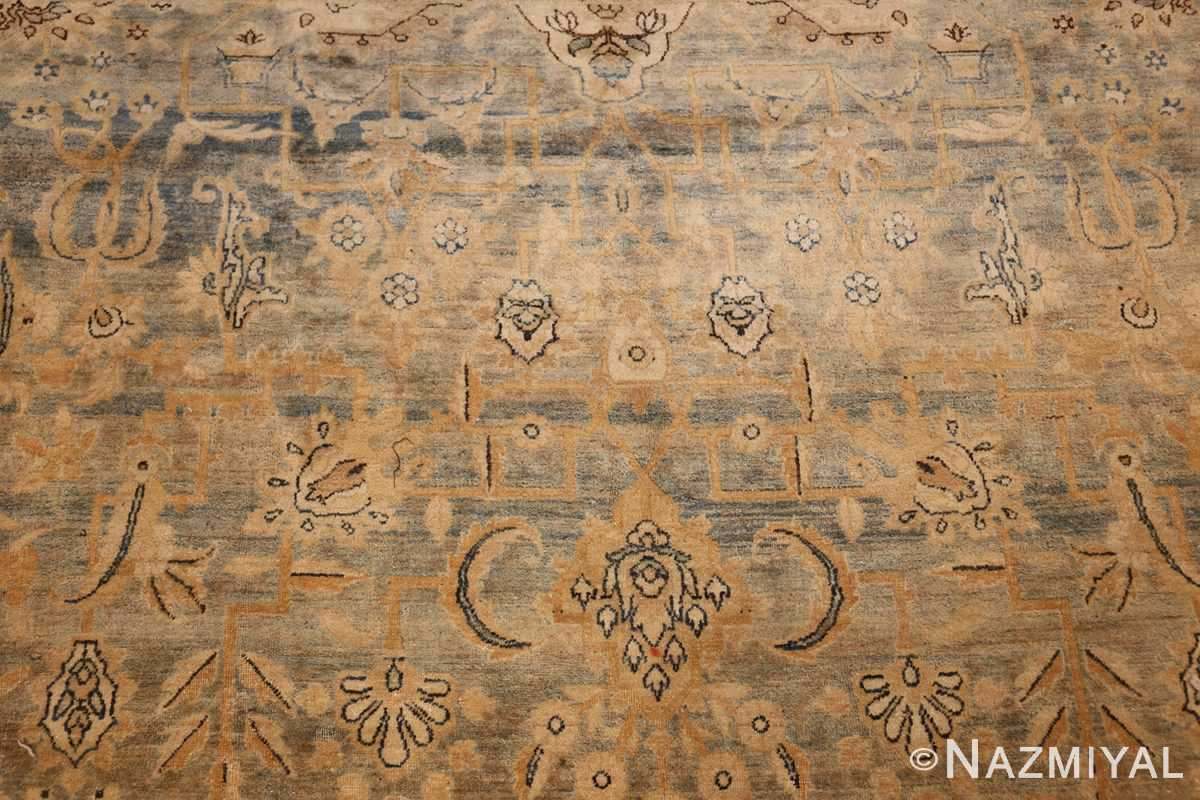 large blue antique kerman persian rug 49331 flower Nazmiyal