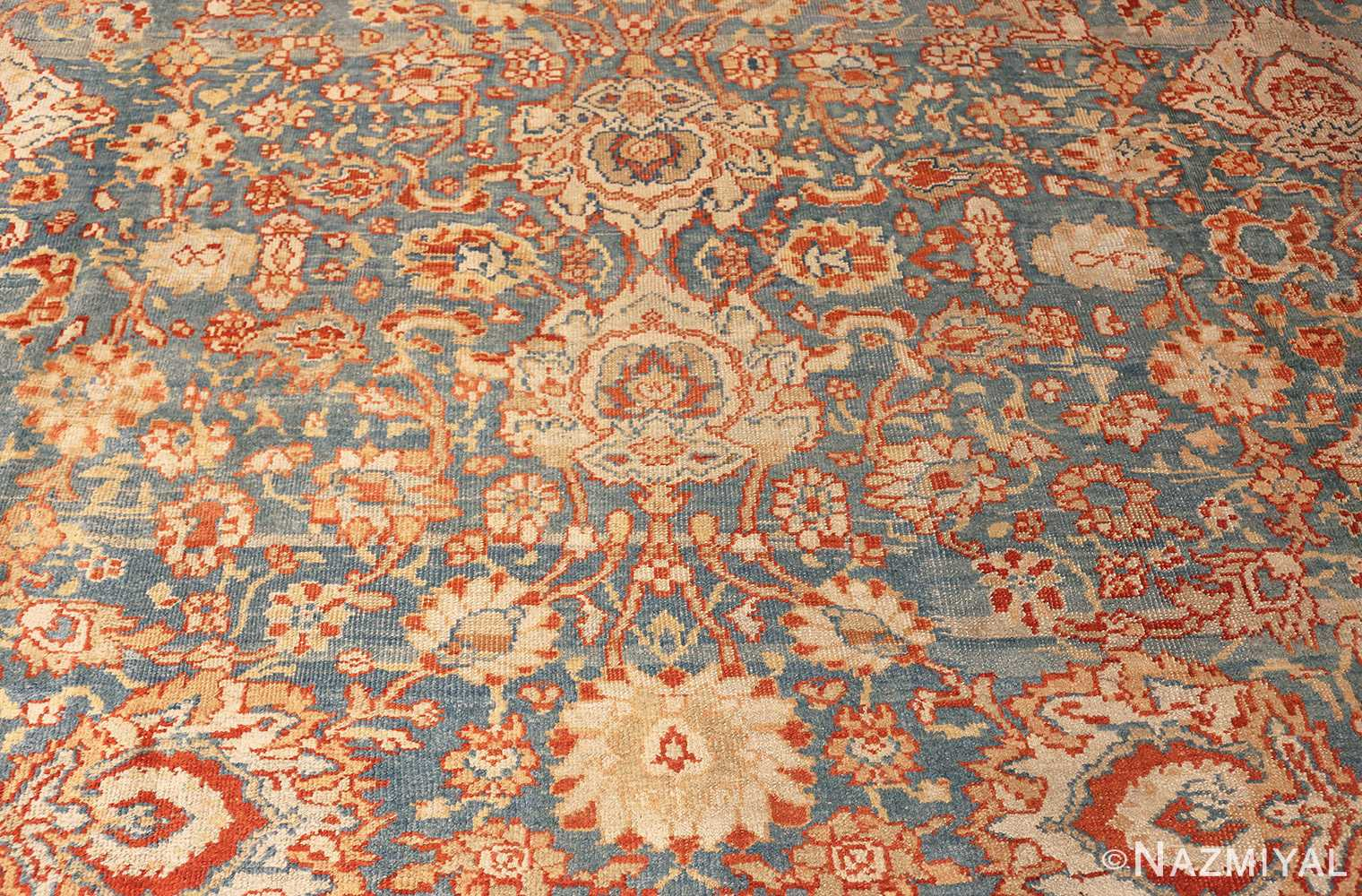 large blue antique sultanabad persian rug 49318 pattern Nazmiyal