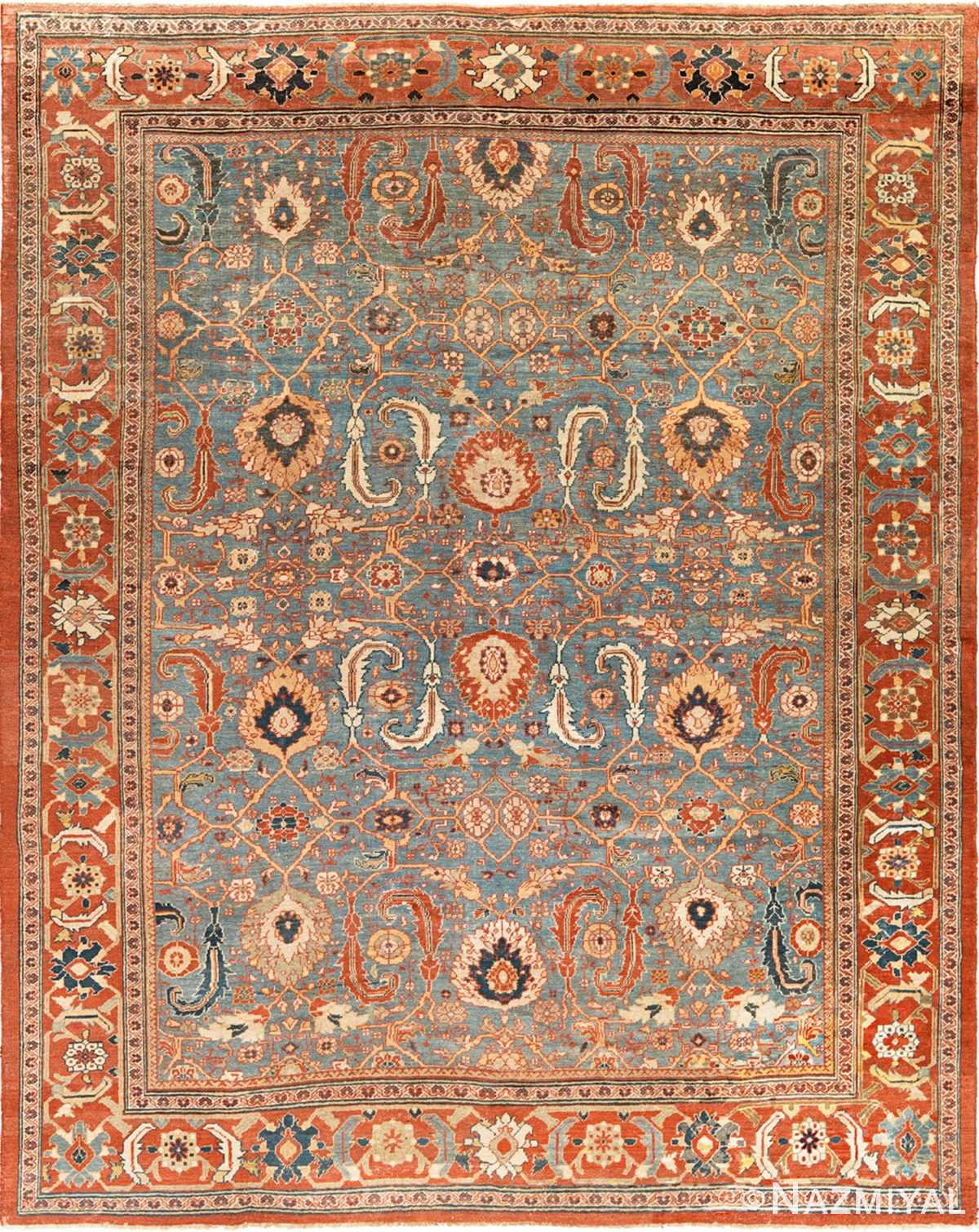 large blue background sultanabad persian rug 49300 Nazmiyal