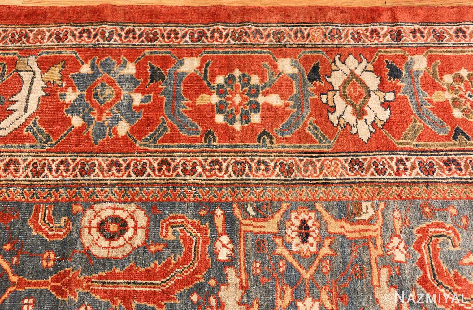 large blue background sultanabad persian rug 49300 border Nazmiyal