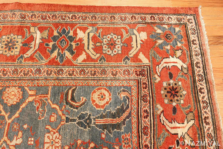 large blue background sultanabad persian rug 49300 corner Nazmiyal