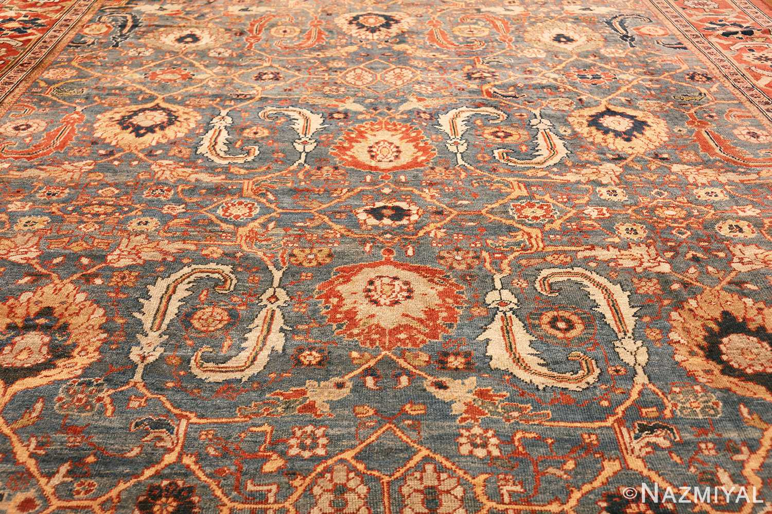 large blue background sultanabad persian rug 49300 field Nazmiyal