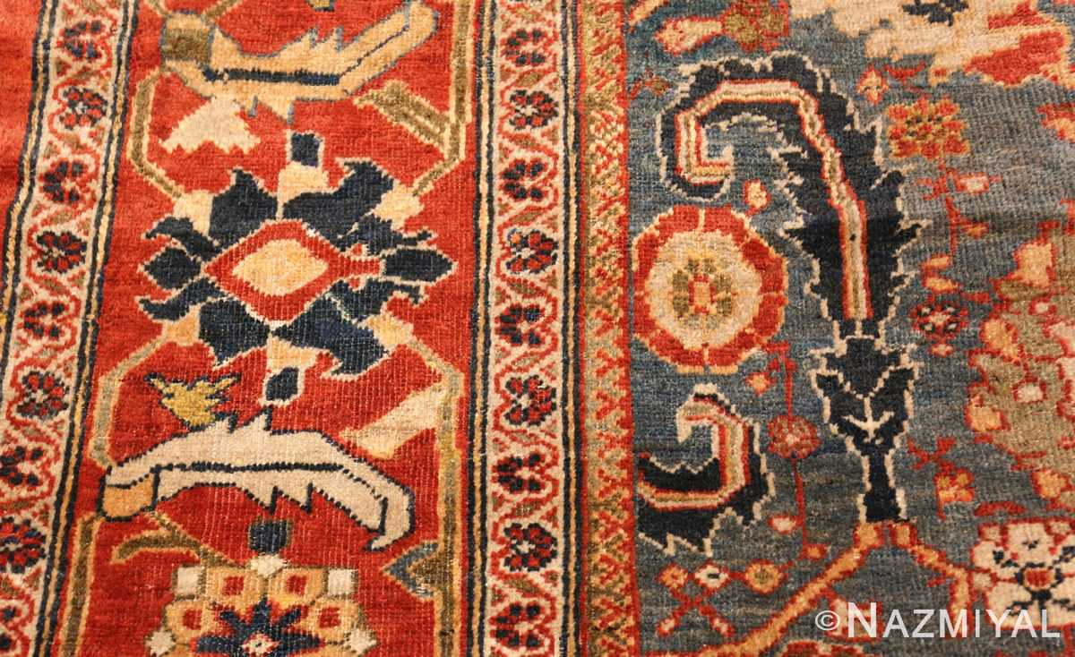 large blue background sultanabad persian rug 49300 flower Nazmiyal