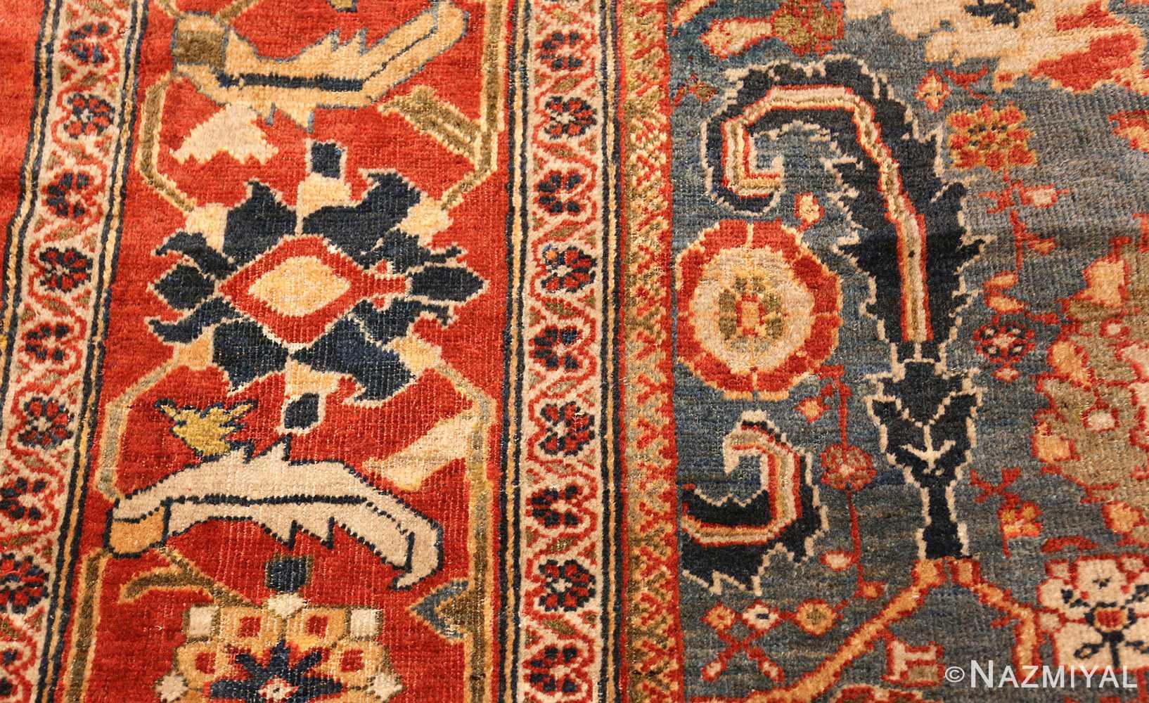 large blue background sultanabad persian rug 49300 flower Nazmiyal