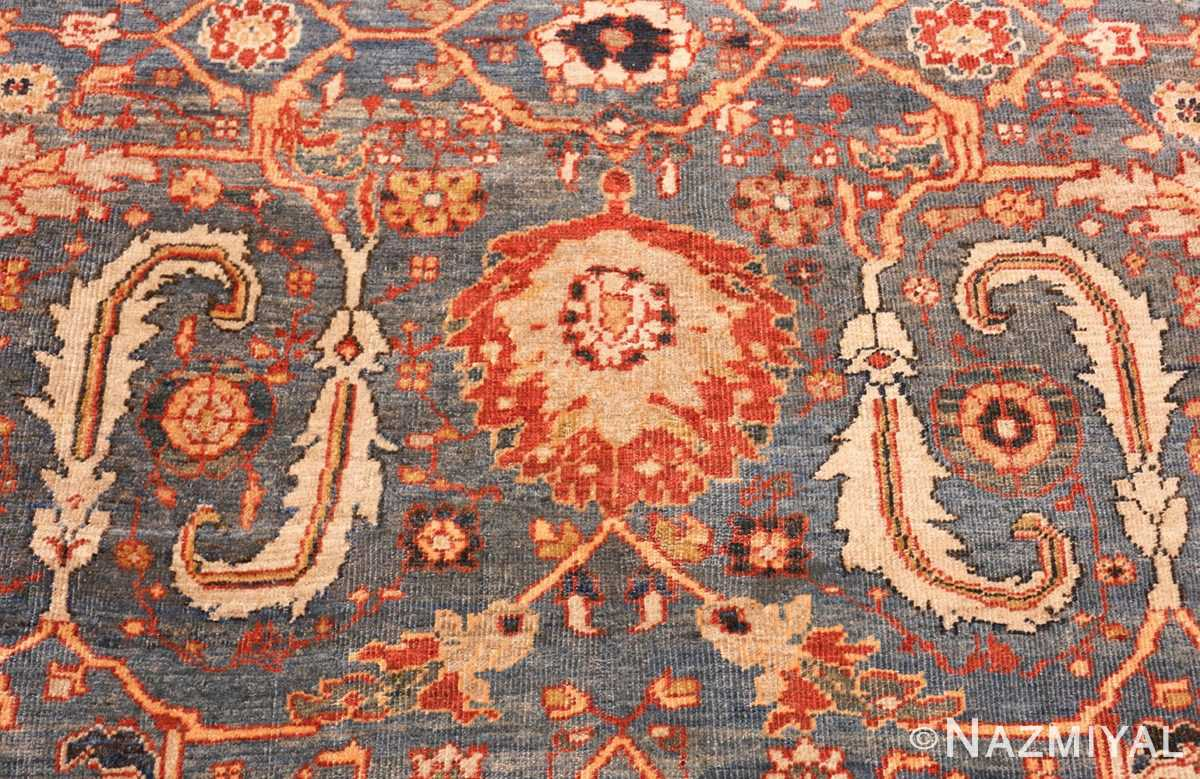large blue background sultanabad persian rug 49300 leaves Nazmiyal