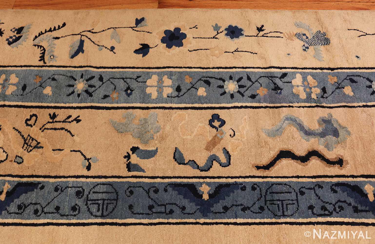 large cream background antique peking chinese rug 49333 border Nazmiyal