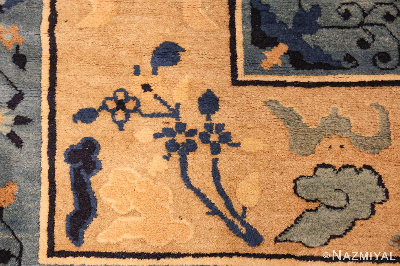 large cream background antique peking chinese rug 49333 corner Nazmiyal